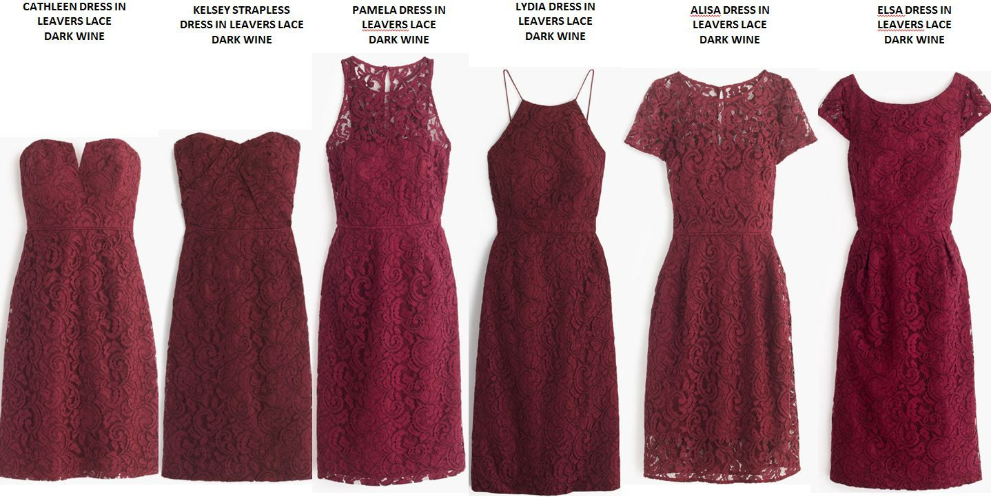 J Crew Lace Dresses In Dark Wine I Ordered The First 3 And They All Looked Terr Red Bridesmaid Dresses Short Dark Red Bridesmaid Dresses Orange Dress Wedding