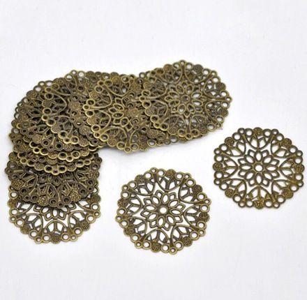 Antique bronze filigrane composant-pack de 20