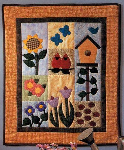 Garden Of Delights Quilted Wall Hanging Pattern Quilted Wall Hangings Patterns Spring Quilts Applique Wall Hanging