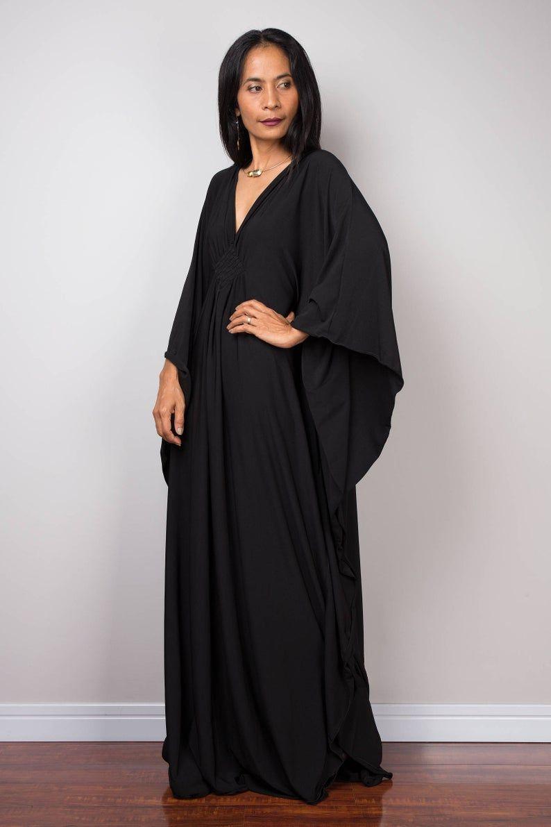 Schwarze Kaftan Kleid Kaftan Maxi-Kleid lose passende ...