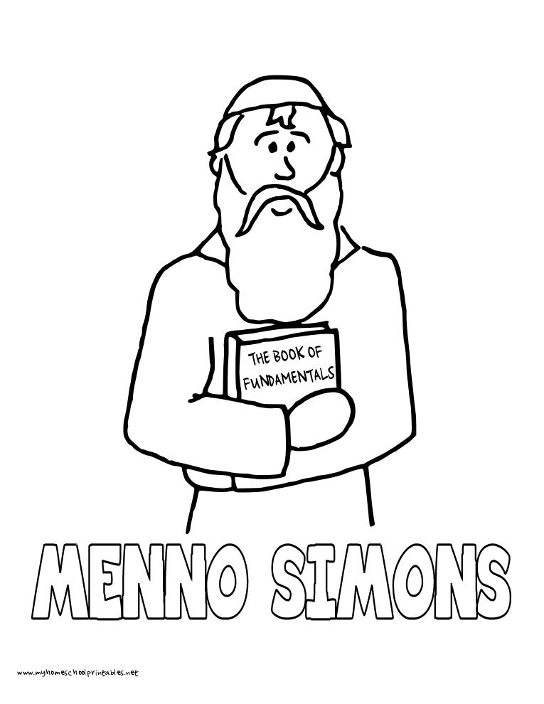 World History Coloring Pages Printables Menno Simons Mennonites ...