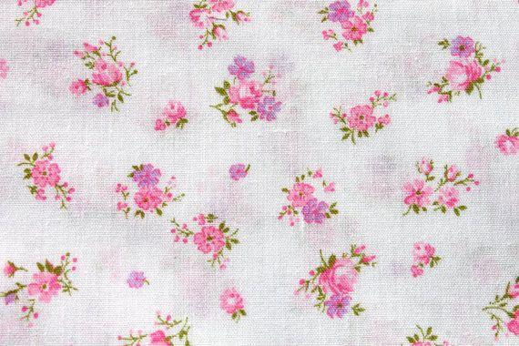 Vintage Small Tiny Rose Print Cotton Fabric Lavender Purple Pink Floral Flower Doll Dress Quilting Sewing Fabric Alm Pink Rose Flower Quilt Dress Rose Print