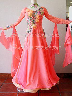 Ballroom Everday Standard Tango Waltz Dance Dress US 8 UK 10 Pink Flowers