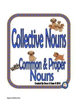 Common, Proper, Collective Noun Center Activity for small groups or independent work during guided reading. Students read a sentence and record the common, proper, and collective noun in each sentence. There are 12 sentences on the task page and 12 task cards with the same sentences as the task page.