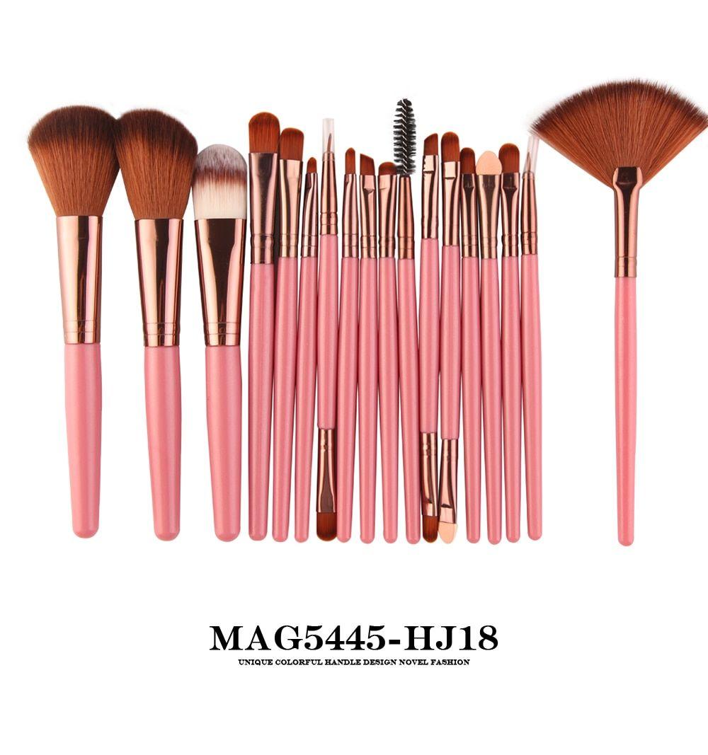Maange 6 15 18pcs Makeup Brushes Tool Set Cosmetic Podwer Eye Shadow Foundation Blush Blending Makeup Brush Set Makeup Brush Set Professional Makeup Brush Kit