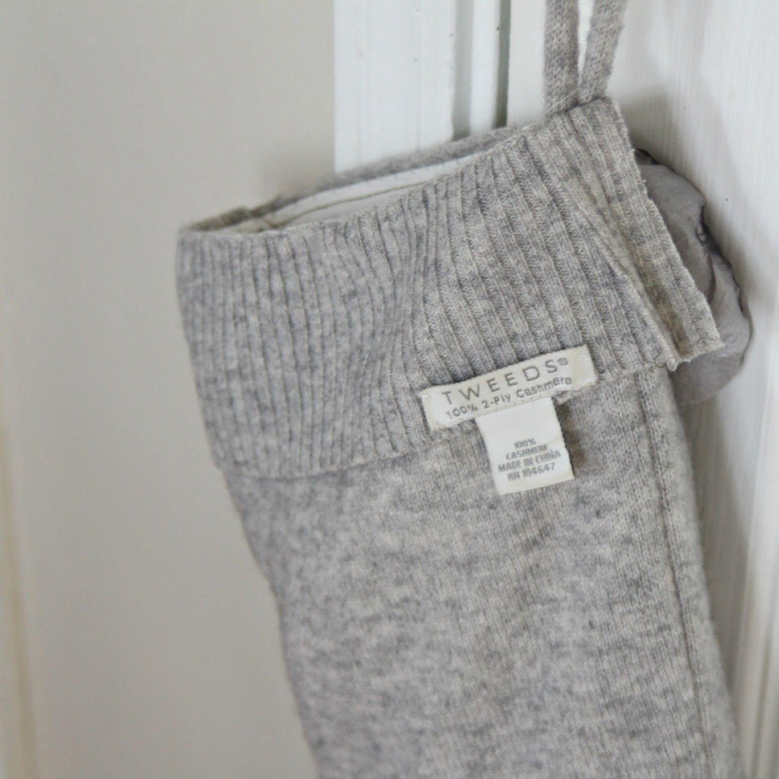 Recycled Cashmere Sweater Christmas Stocking Gift Bags