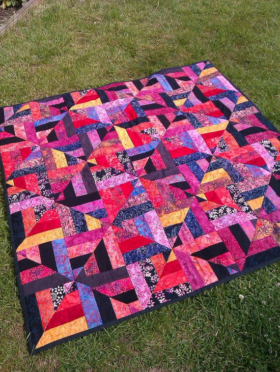 Ready to ship Bali batik patchwork Quilt Red and Black All Over ... : batik patchwork quilt - Adamdwight.com