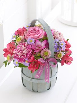 Pink flower bouquet basket gift ideas for mothers day mothers pink flower bouquet basket gift ideas for mothers day negle Images