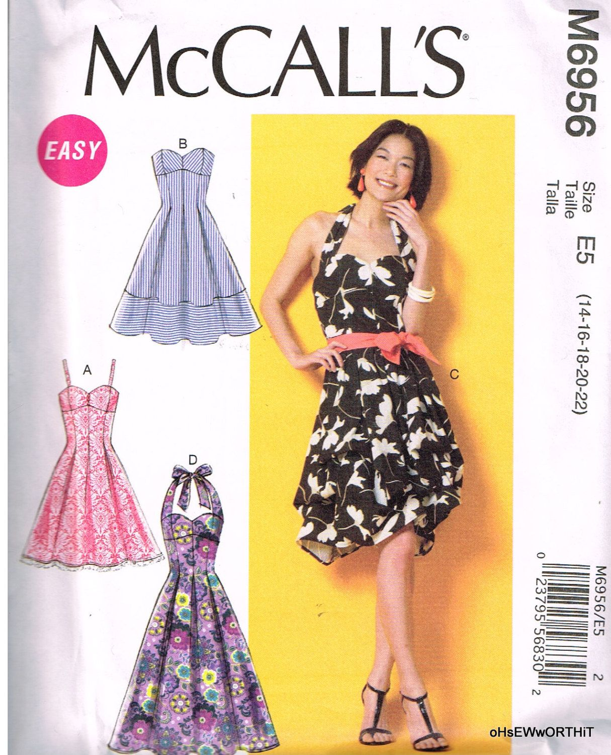 Mccall 39 S M6956 Sewing Pattern Women 39 S Dresses Size 14 16 18 20 22 Sewing Summer Dresses Summer Dress Sewing Patterns Sewing Dresses [ 1500 x 1215 Pixel ]