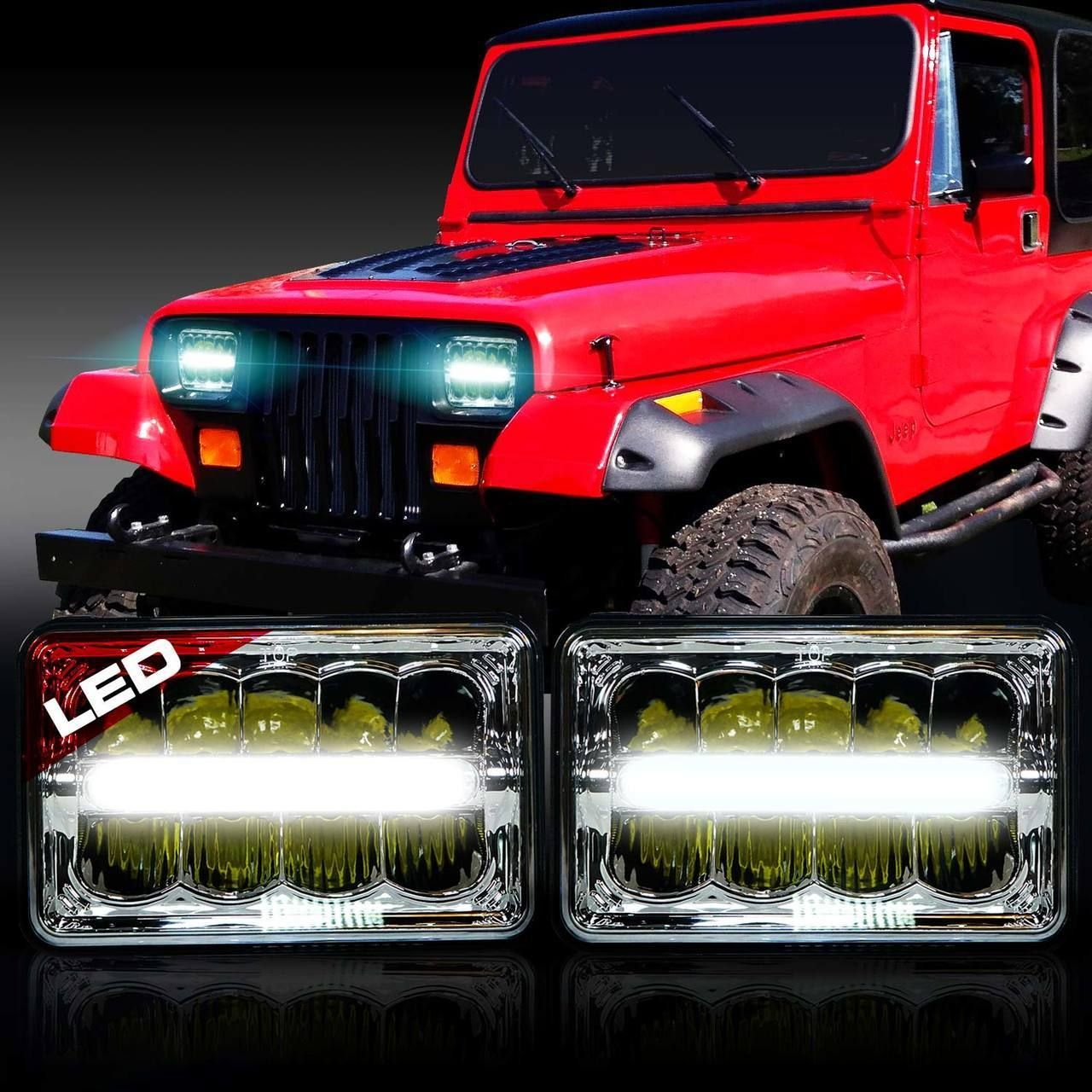 Xdr Led Chrome Headlights W Drl For Xj And Yj Jeep Wrangler Yj
