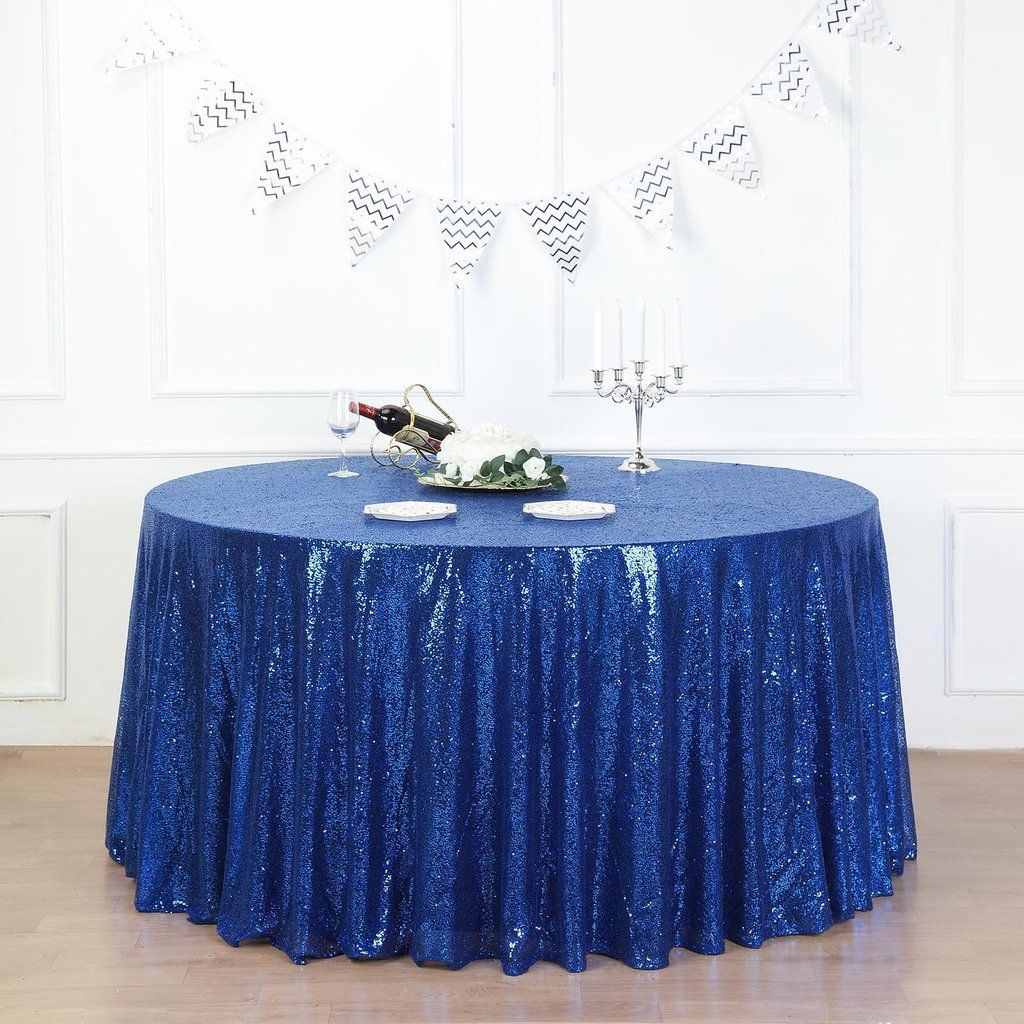 132 Royal Blue Premium Sequin Round Tablecloth In 2020 Royal