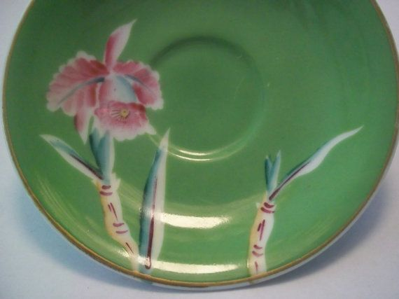 Ucagco China, Saucer, Occupied Japan, 40s-50s, Vintage, Lime Green, Bamboo shoots, Pink Iris, Hand painted, Collectible, home decor