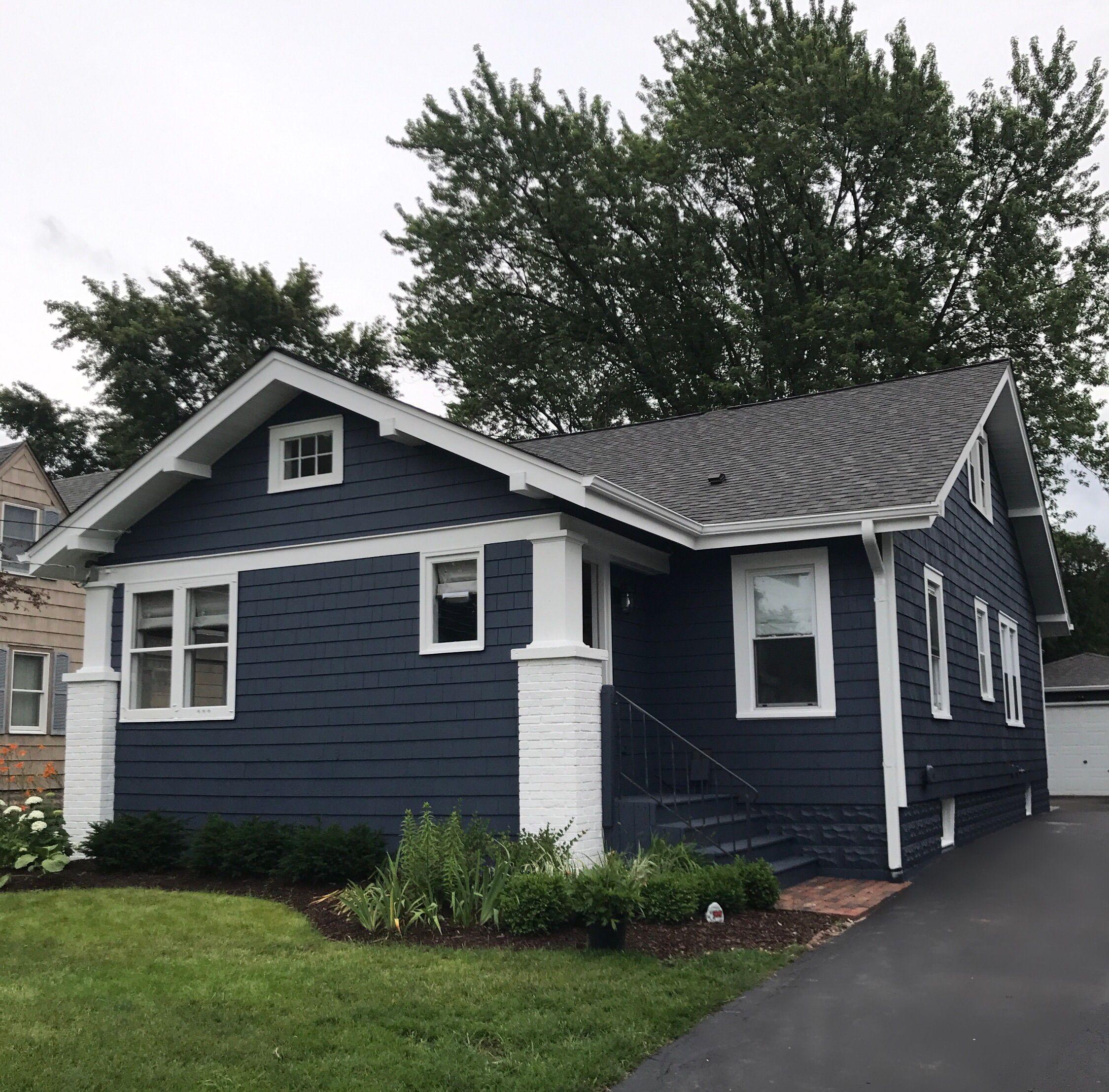evening dove exterior paint color with white trim bungalow cottage