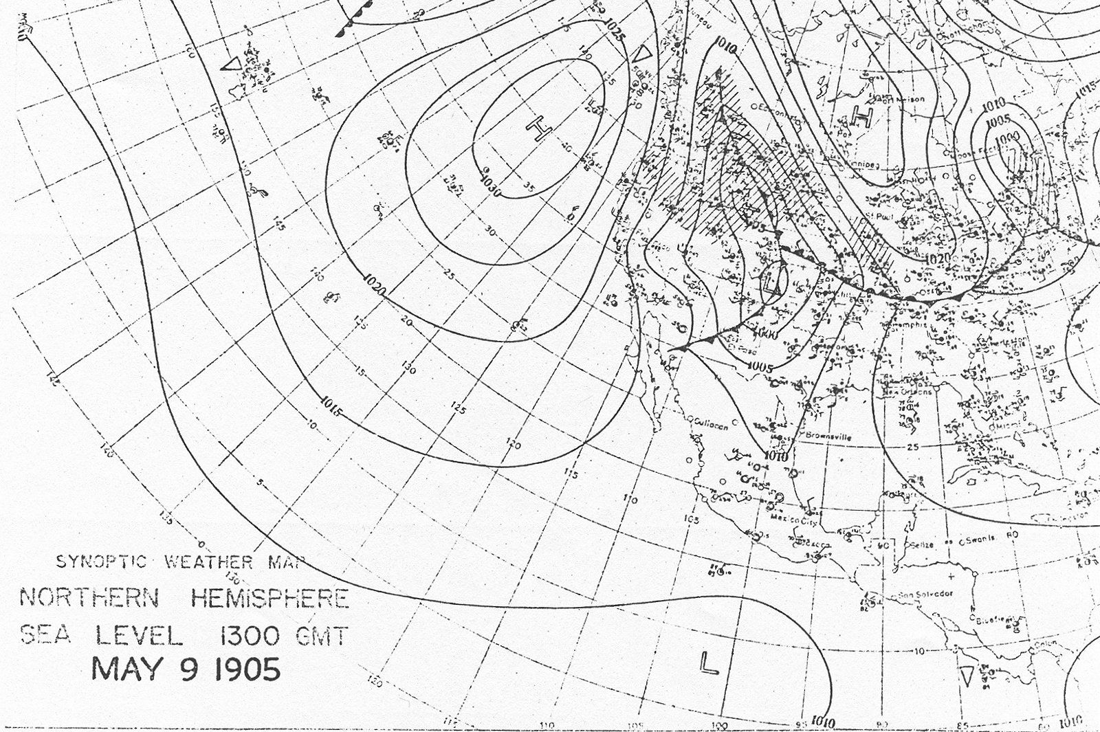 Infographic Synoptic Weather Map Northern Hemisphere Sea Level