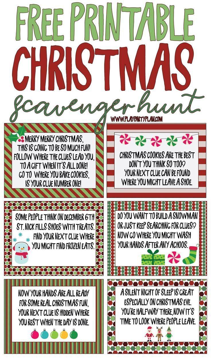 Printable Christmas scavenger hunt clues for present