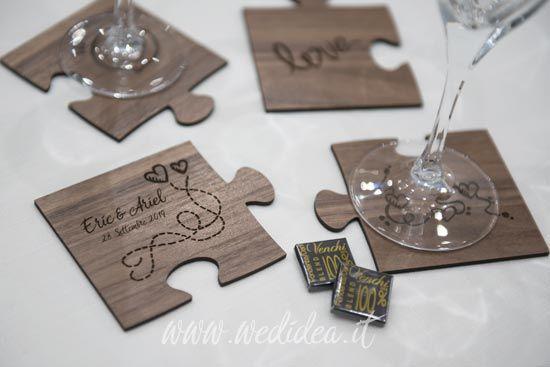 Bomboniere Matrimonio In Legno.Bomboniera Puzzle In Legno Dream Wedding Wedding Coasters