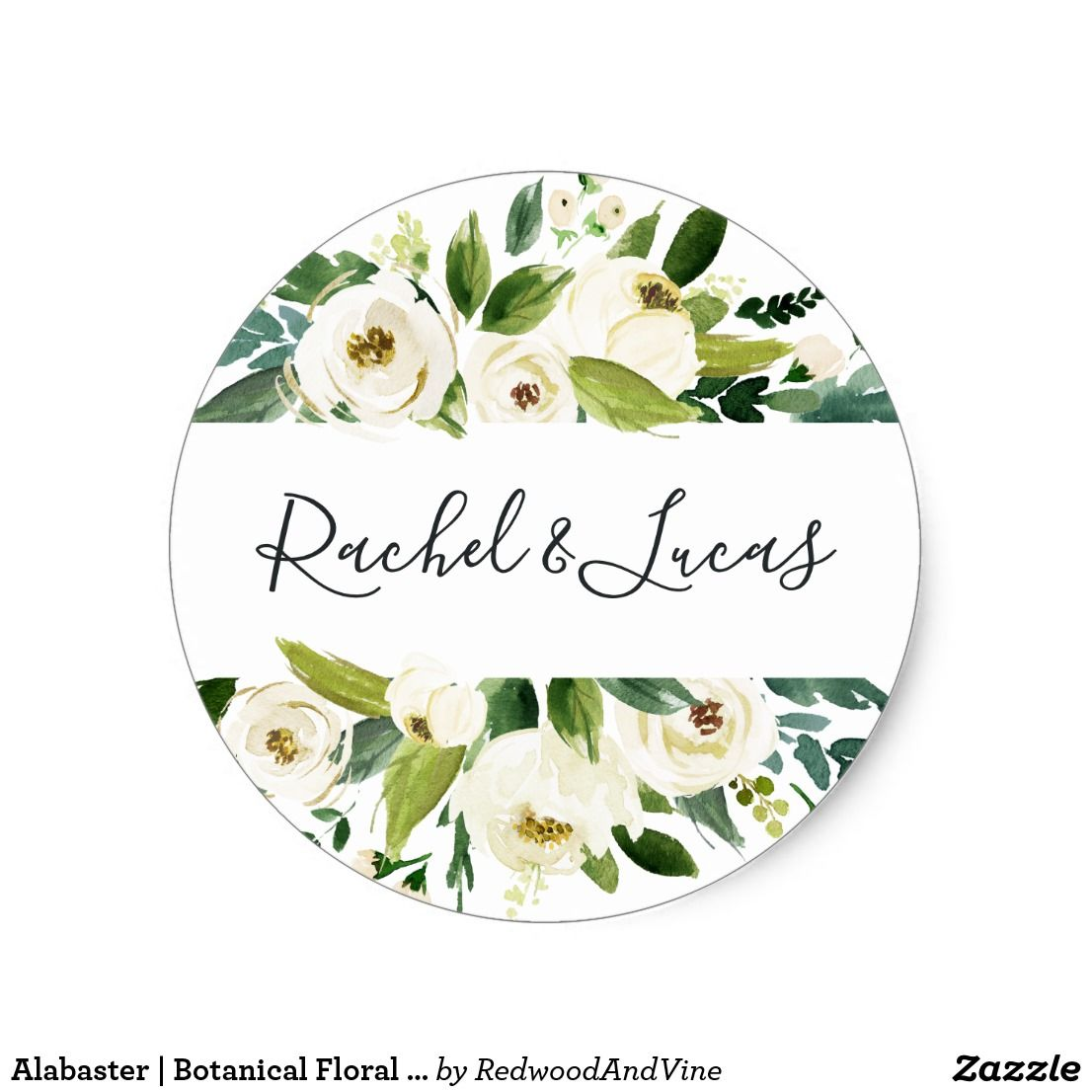 Alabaster | Botanical Floral Wedding Classic Round Sticker Seal your ...