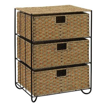 Household Essentials Seagrass Rattan Three Drawer Unit With Images Household Essentials Household Drawer Unit