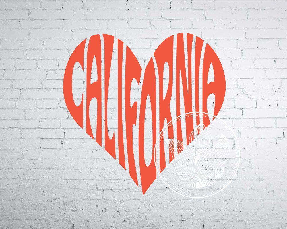 California decor California logo design California Word Art California word in heart shape California Svg Dxf Eps Png Jpg