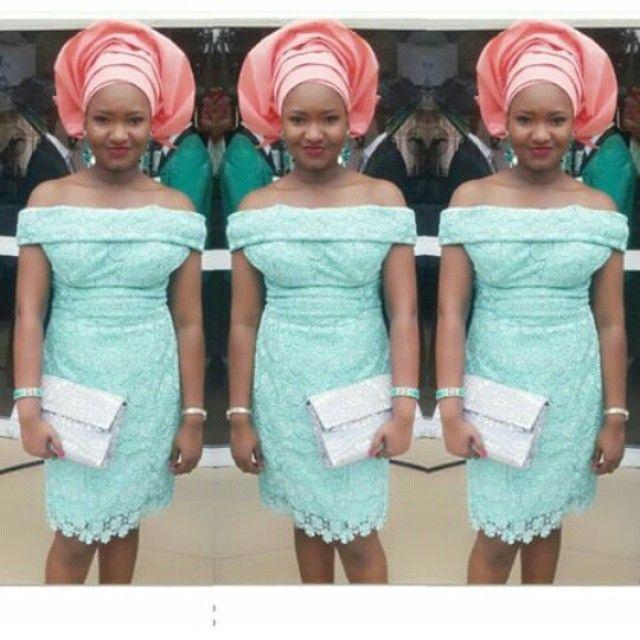 short Nigerian mint lace wedding guest dress with pink gele | Mint ...