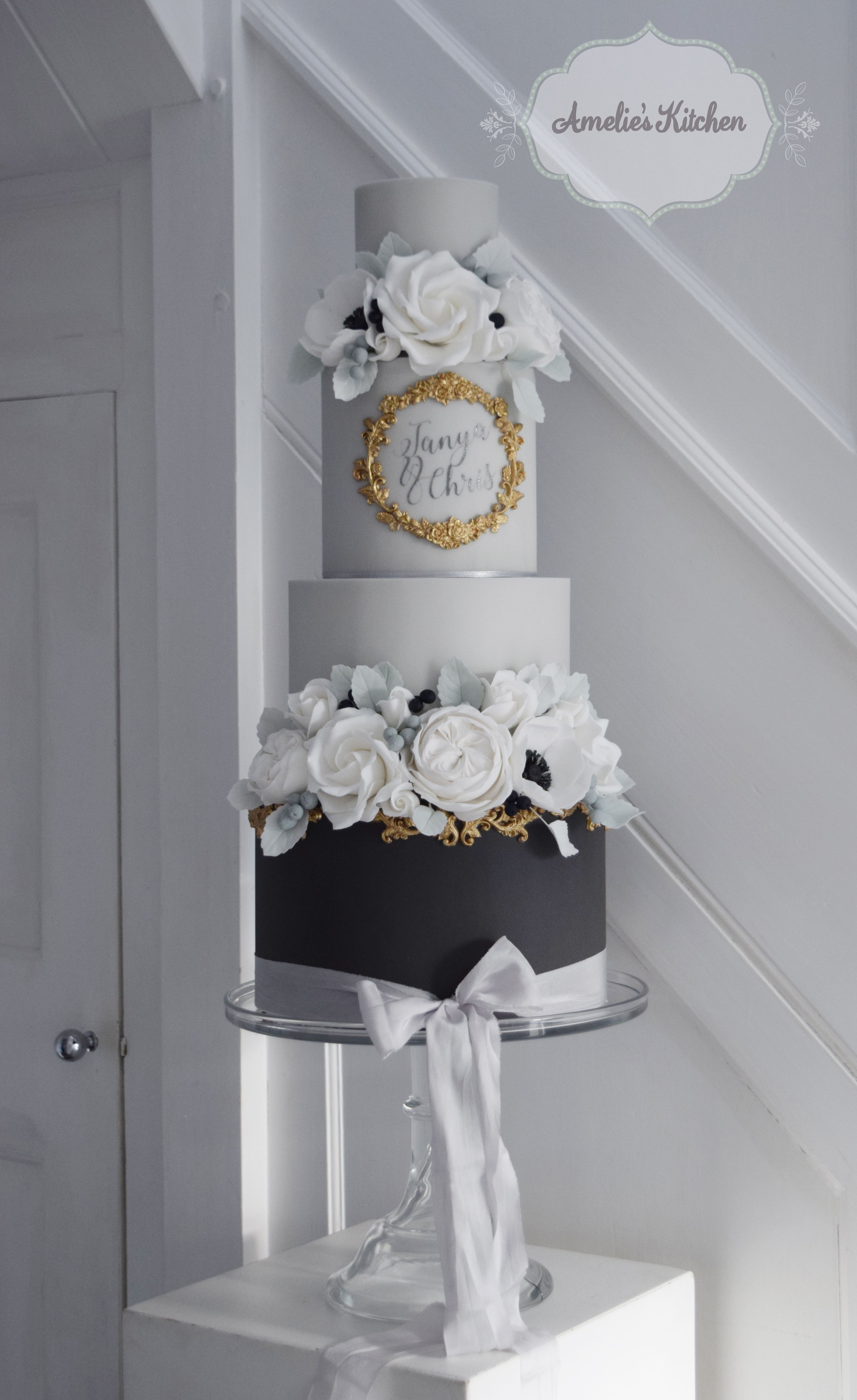 Charcoal grey and gold cake design trimmed with hand dyed kate