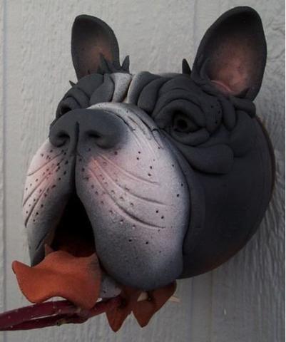 Boston Terrier Ceramic Birdhouse