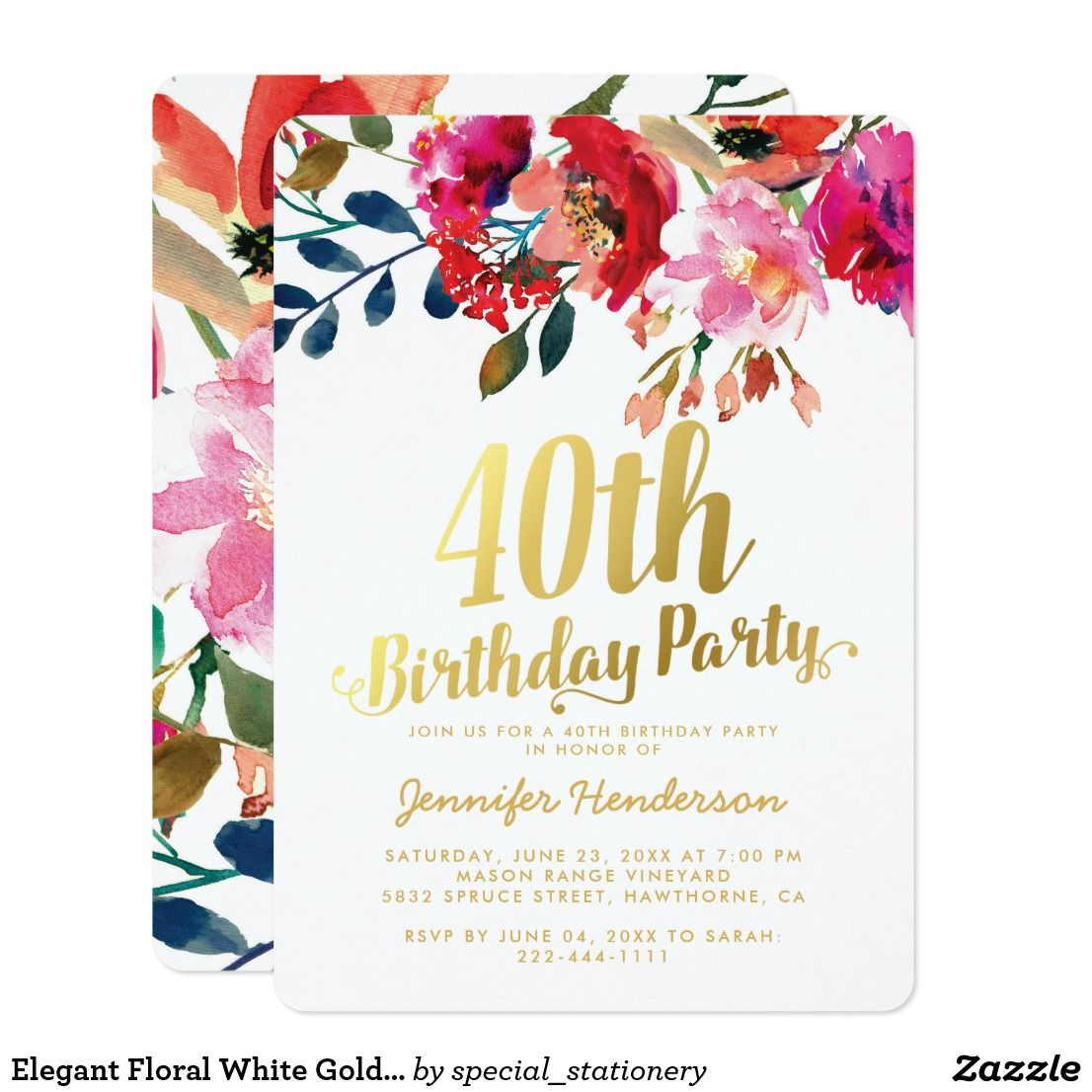 Elegant Floral White Gold 40th Birthday Party Card | Best ...