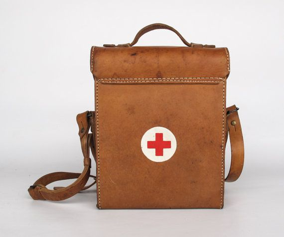 Vintage Leather First Aid Case Red Cross Medical Bag Military 50 S Yugoslavia Brown Genuine