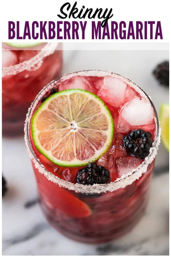 Skinny Blackberry Margarita. Simple, easy recipe with fresh lime juice, tequila, agave or simple syrup, and frozen or fresh berries. Better than Chili's or Chuys! Ultra refreshing. Recipe can make just one or a whole pitcher for a party! #wellplated #margarita #cocktails #drinks #tequiladrinks