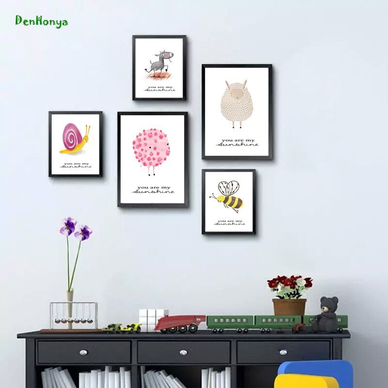 Bee Sheep Wall Art Canvas Painting Posters And Prints Nordic Cute ...