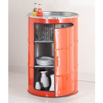 German design group Lockengeloet saves oil barrels from the harbor in Hamburg (which are no longer leak proof), takes a tin opener to open them up, and turns them into cabinets.                #Repurpose #Recycle #Innovation #Furniture