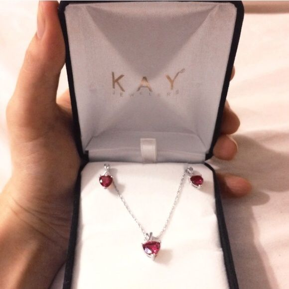 2ef55926b Kay Jewelers Valentine Ruby Necklace & Earrings Brand new! Valentines day  is coming up! Kay Jewelers Jewelry Earrings