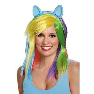 My Little Pony Rainbow Wig With Ears One Size