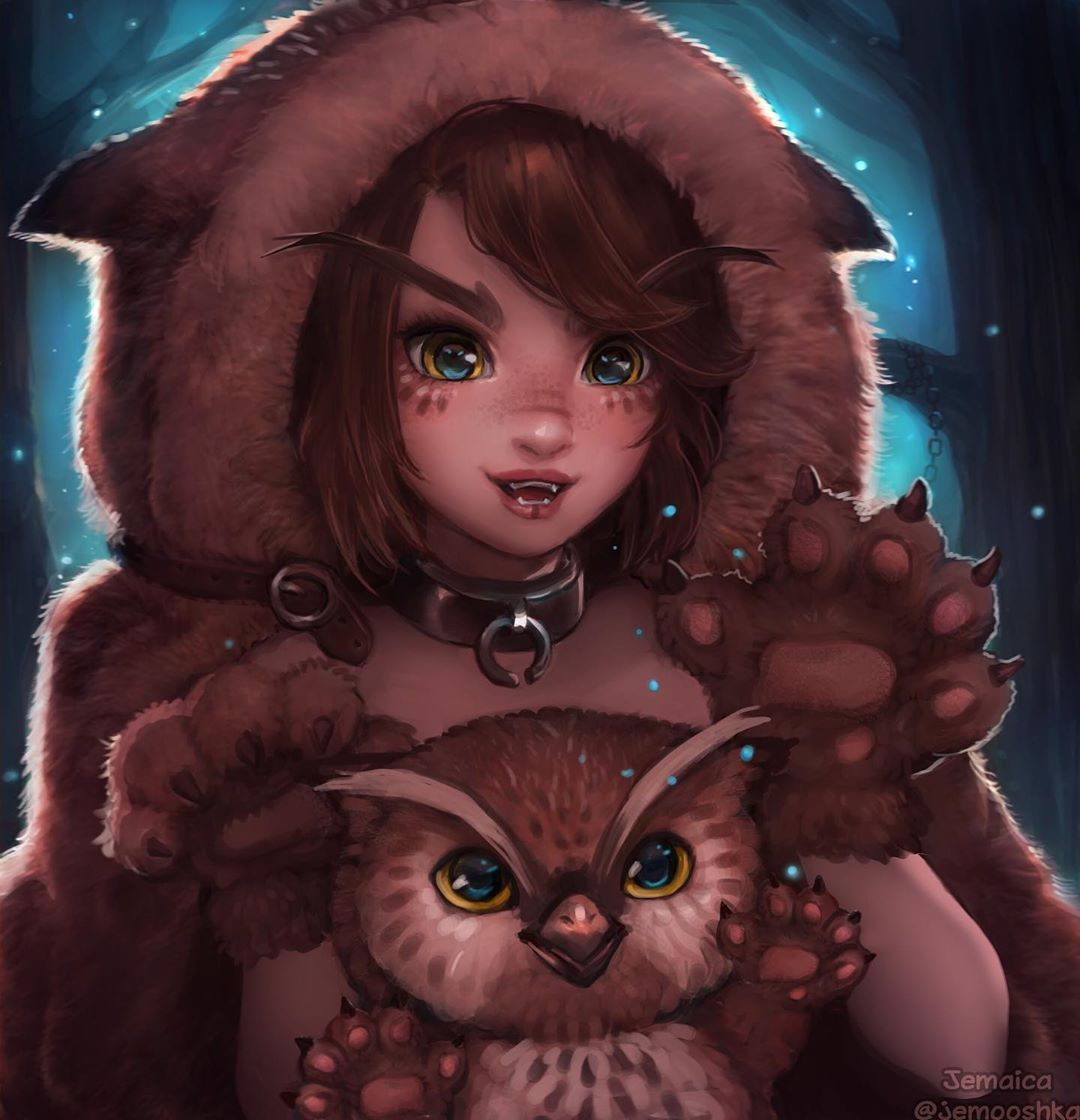 """jemaica on Instagram: """"finished baby owlbear and owlbear girl! <3 I think they would be a cute december illustration for my 2020 calendar? you can be messaged…"""""""