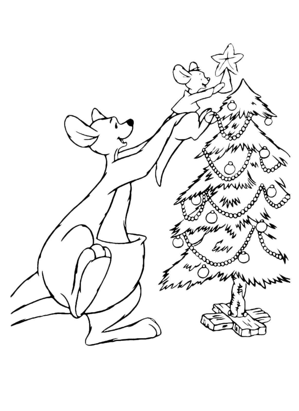 Raskraska Kenguru Ukrashaet Yolochku Skachat Novyj God Yolka Podarki Igrushki Raspechatat Raskraski Elki Kerst Kangoeroe Kerstmis