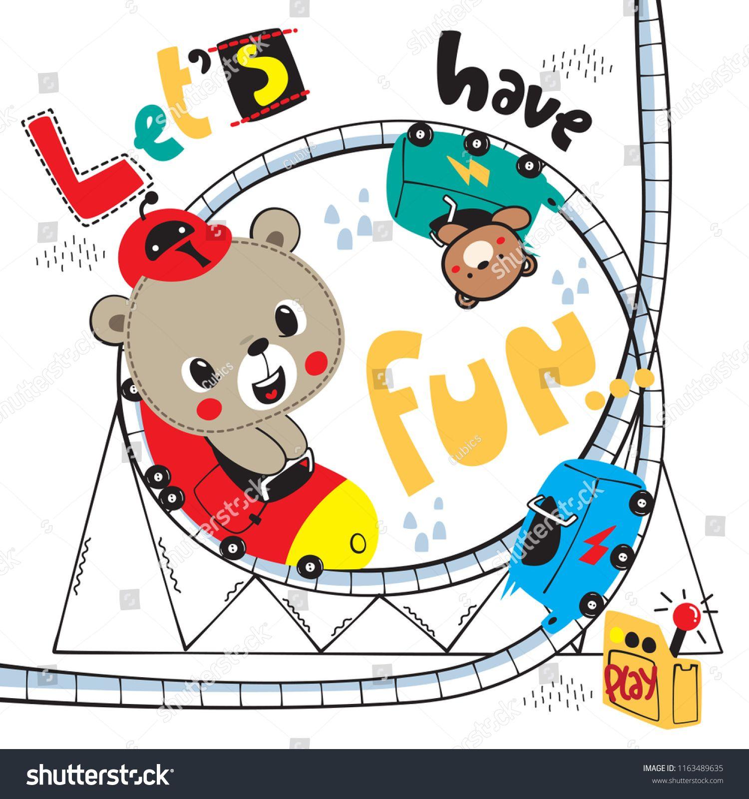 Cute Teddy Bear Cartoon Riding On A Roller Coaster Isolated On White Background Illustration Vector Cartoon Ri Teddy Bear Cartoon Cute Teddy Bears Bear Cartoon