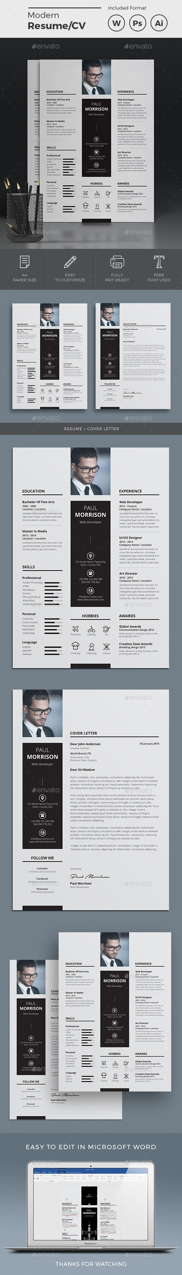 resume a4 template psd  ai illustrator  ms word
