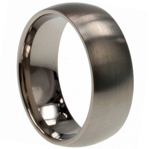 Anium Wedding Band Comfort Fit Ring 8mm Width Matte Finish Polish Men Or Womens Size 9