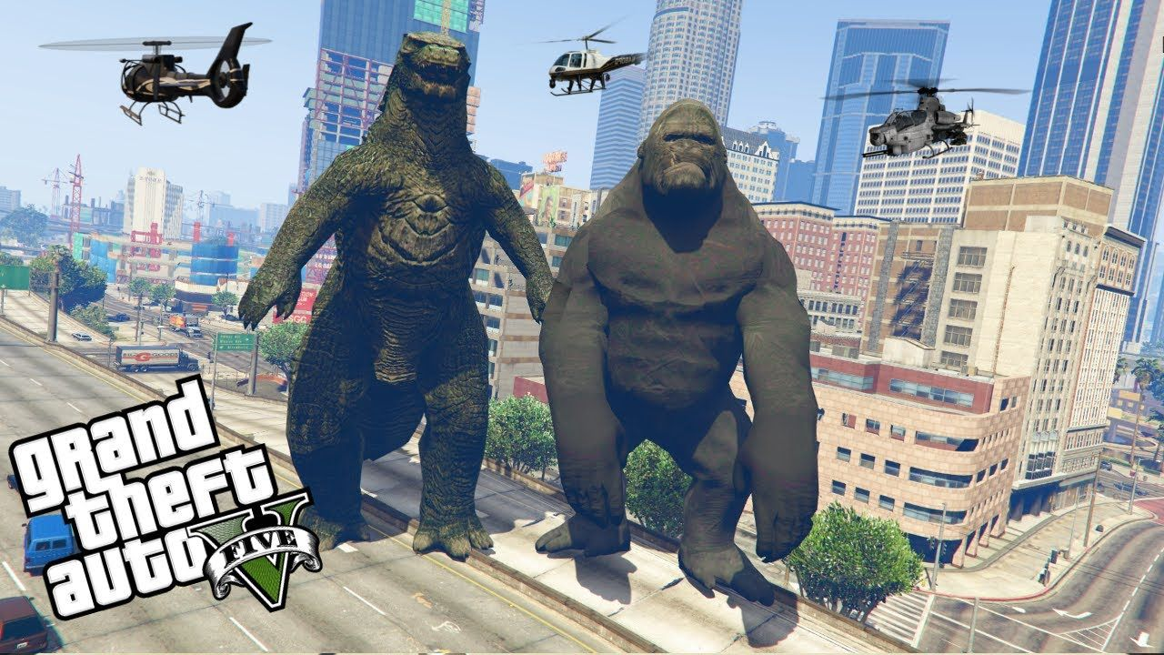 German) GTA 5: KING KONG VS GODZILLA | LSPDFR/GTA V | King kong vs