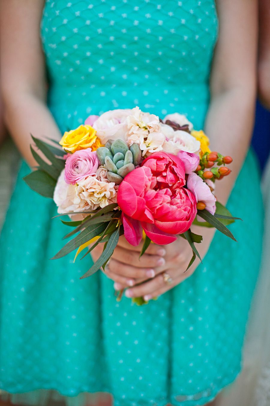 Colorful bridesmaid bouquet | Read More: http://www.stylemepretty.com/little-black-book-blog/2014/08/19/colorful-classic-north-carolina-wedding/ | Photography: Anna Paschal Photography - www.annapaschalphotography.com