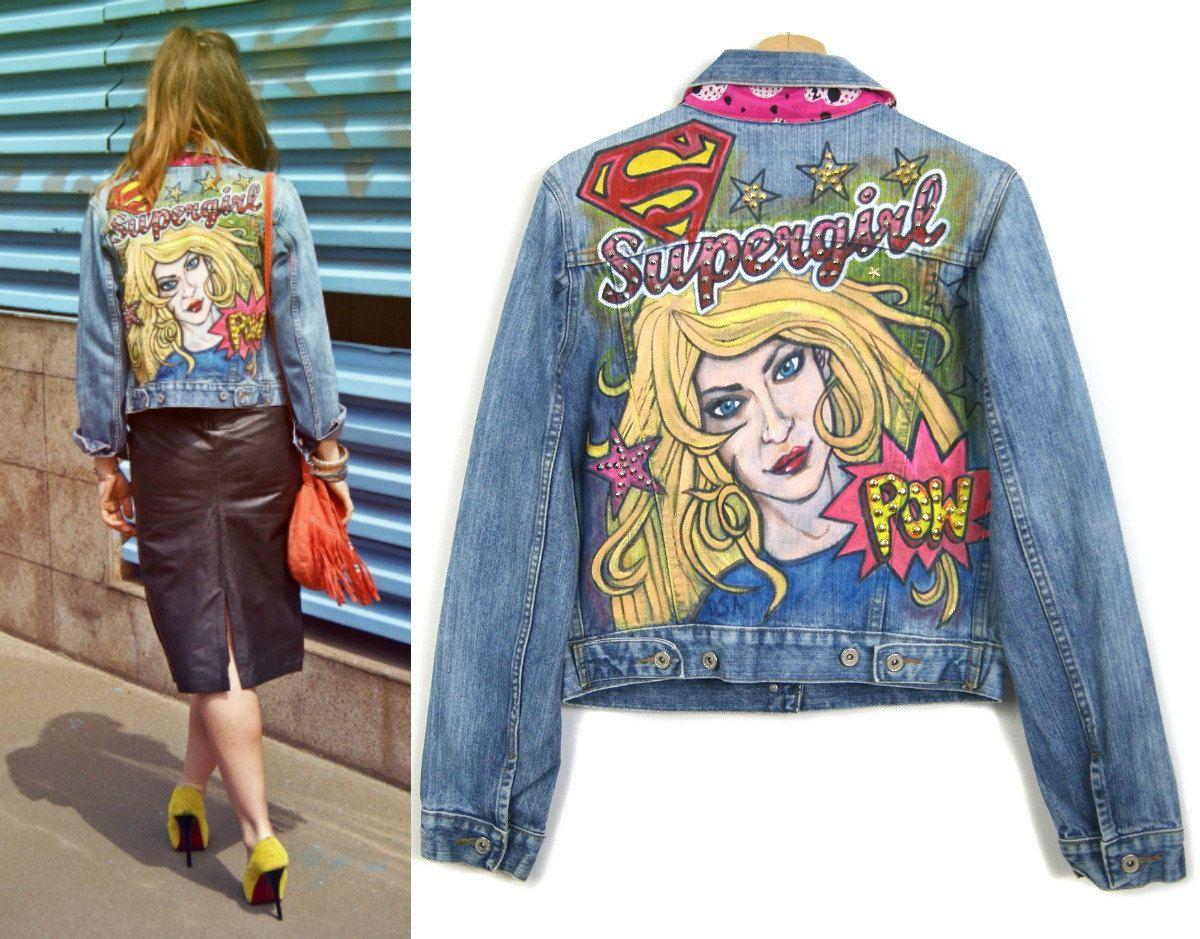 Supergirl Hand Painted Denim Jacket Girl Power Comics