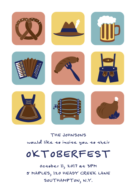 Invite to an Octoberfest party in style with beer, sausage, pretzels and traditional wear. Invite online or order paper cards. Both options offer online registration and guest management services. #octoberfestfood