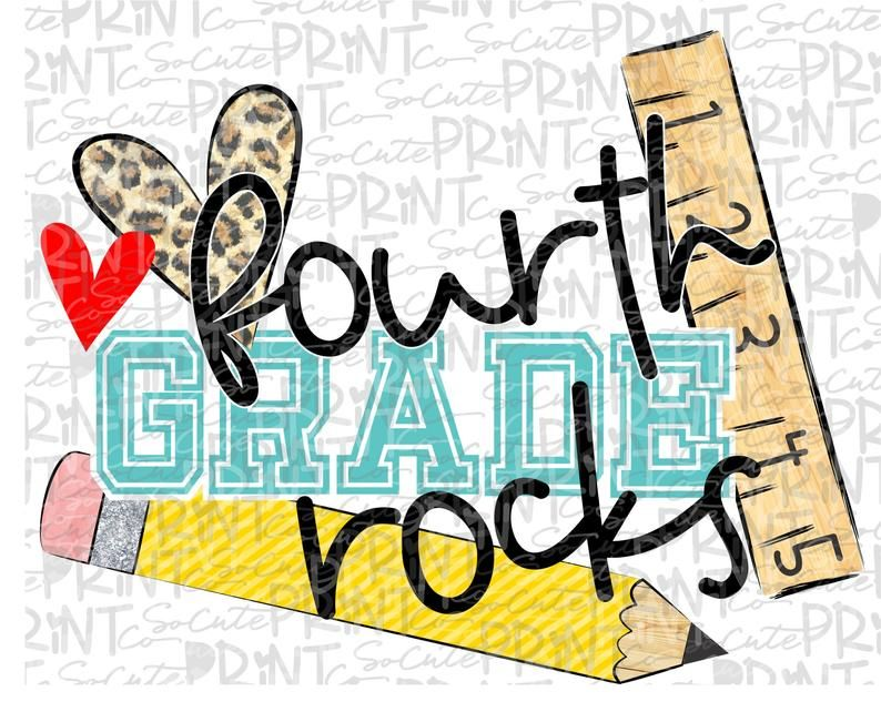 Back To School Fourth Grade Rocks Clipart Png File For Etsy Rock Clipart First Day Of School Clip Art