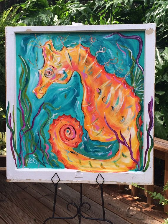 Painting on Vintage Window by CathyKGallery on Etsy (With ...