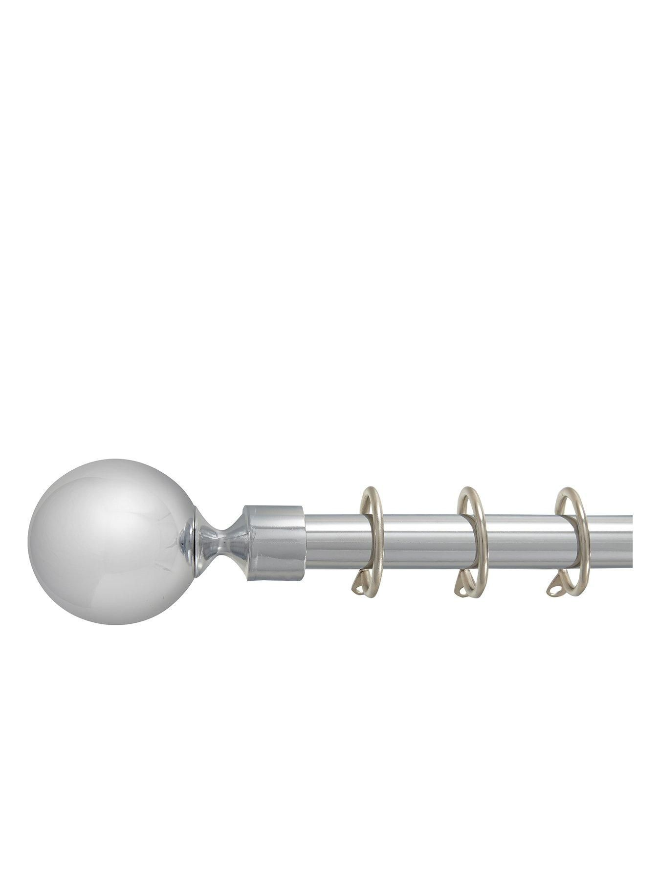 Metal Ball Finial 19mm Curtain Pole In Polished Steel Curtain