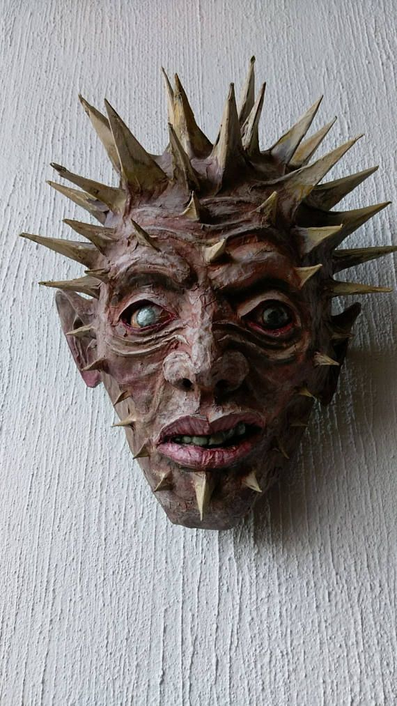 Spiked Head Handmade Paper Mache Mask Wall Art Decoration Fantasy Artwork Room Ornament Interior