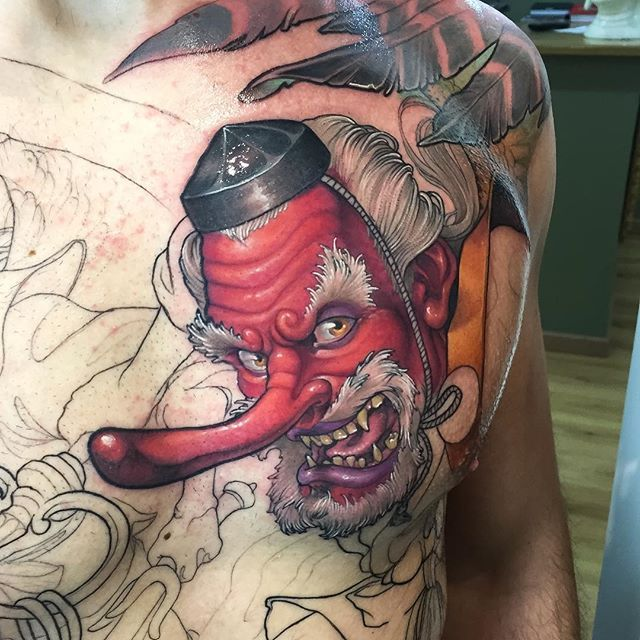 My 2nd Session On This Tengu By Koan From Family Art Barcelona Spain Tattoos Japanese Tattoo Art Tattoo Designs Men