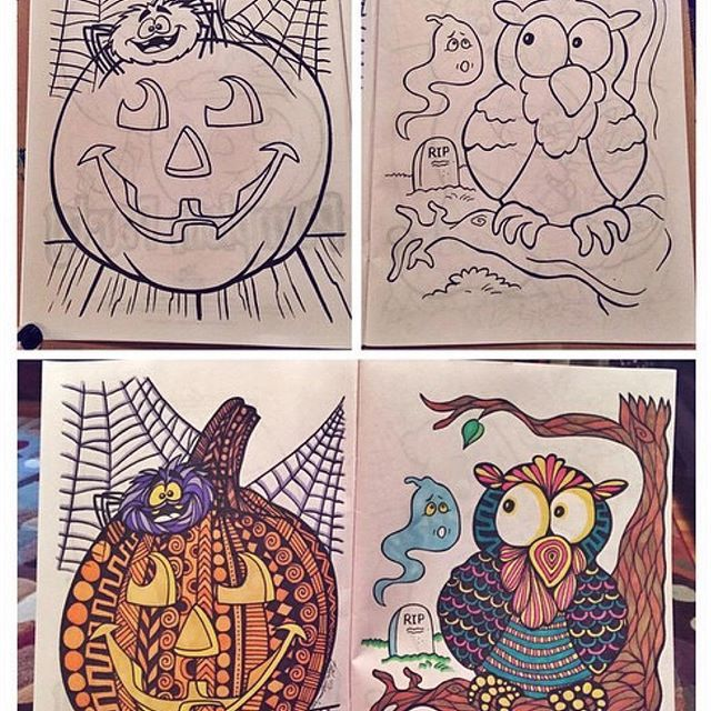 Repost From Last Halloween When I Put My Own Style To A Childrens Coloring Book