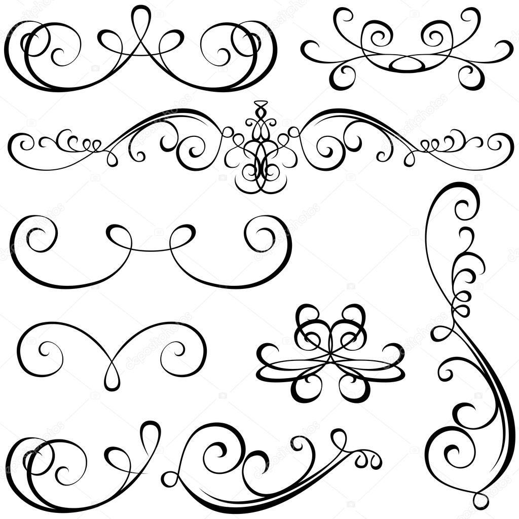 Kalligraphische elemente - schwarz design-elemente, vektor ...