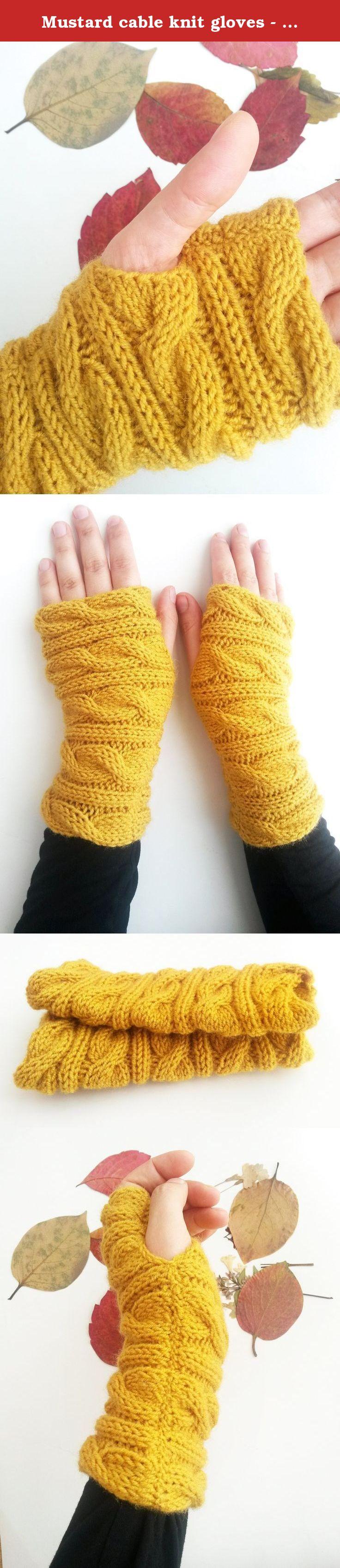Magenta cable knit gloves - Magenta gloves Fingerless gloves ...